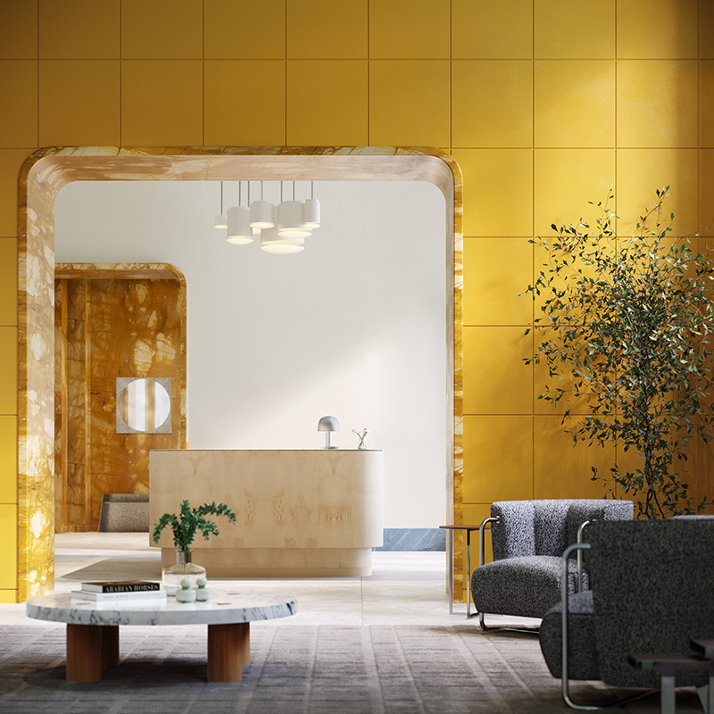 Residential lobby at One Prospect Park West - Binyan Studios