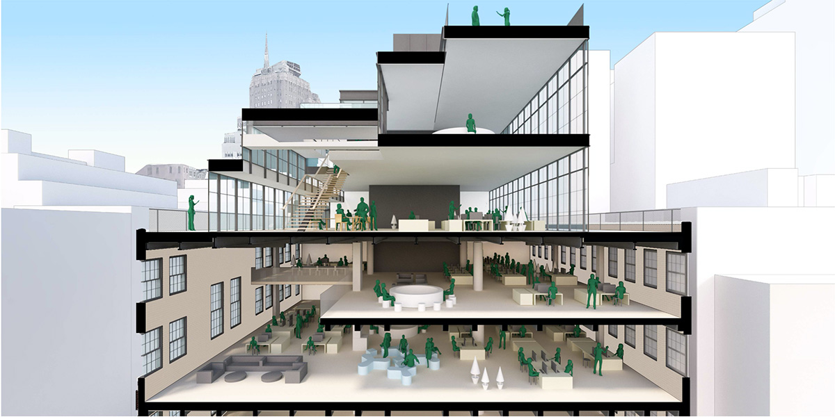Section diagram of proposed expansion at 56 North Moore Street - ODA