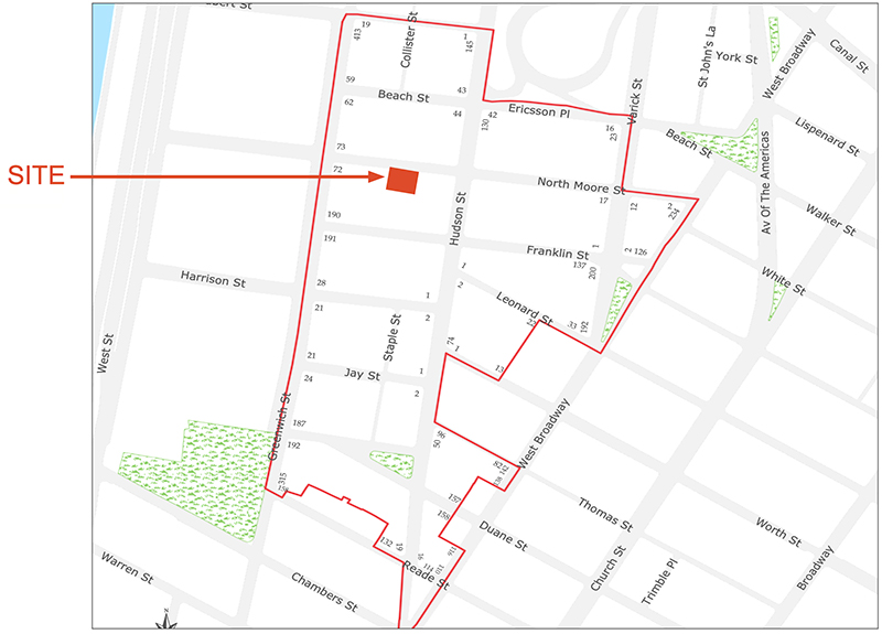 Site map illustrates building location and the boundaries of the Tribeca West Historic District and the location of 56 North Moore Street