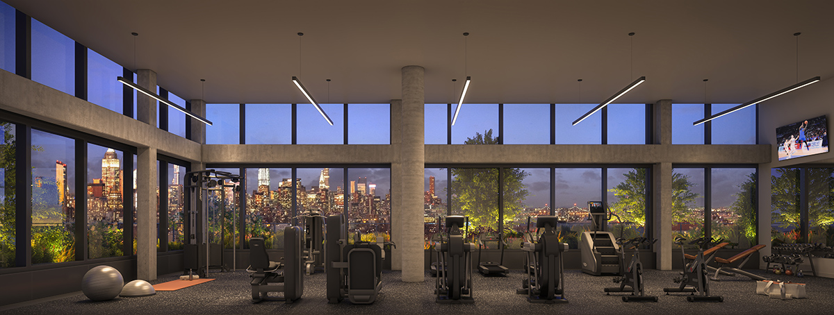 The fitness Center at The Artisan in Essex Crossing - QuallsBenson