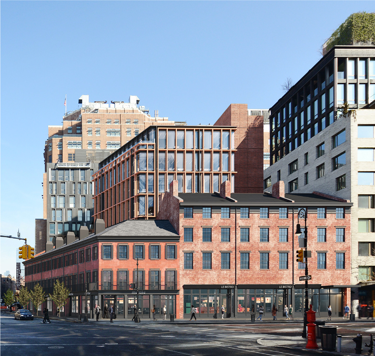 Updated rendering of street walls at 14th Street and Ninth Avenue - BKSK Architects