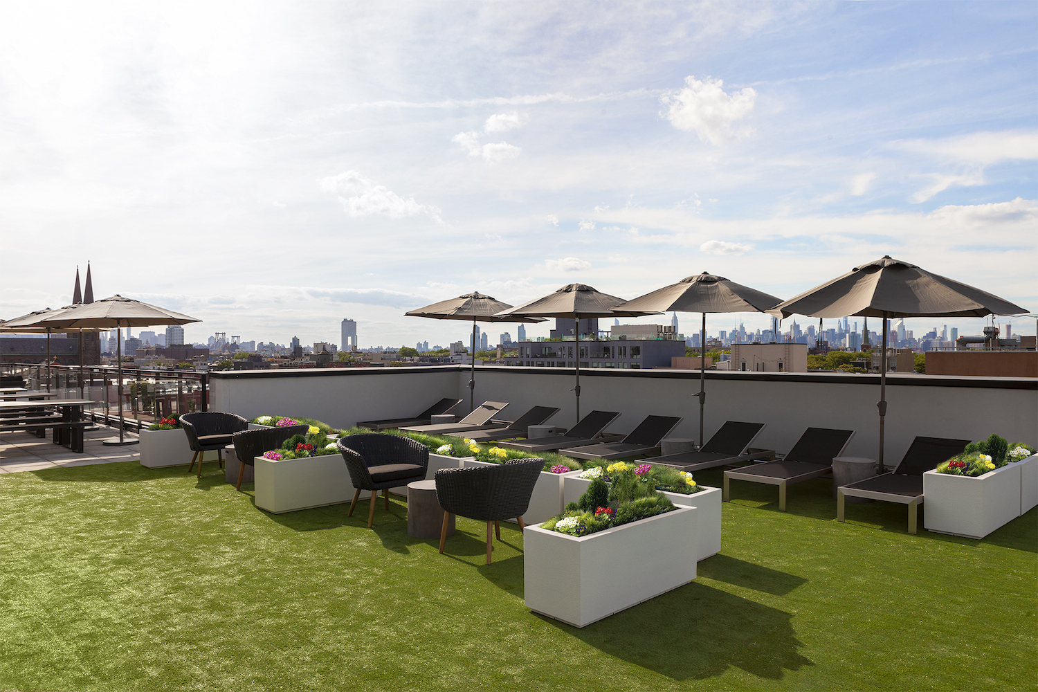 Rooftop amenities at 222 Johnson Avenue in East Williamsburg, Brooklyn