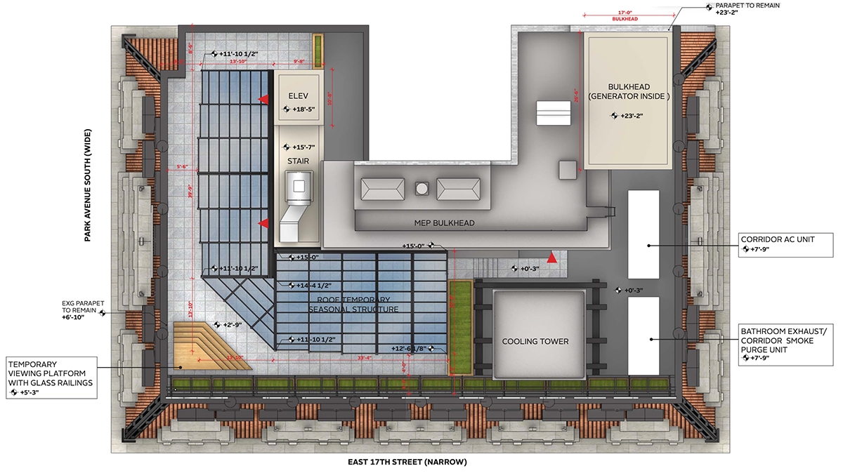 Aerial view of proposed rooftop venue at W New York - Union Square - Beyer Blinder Belle