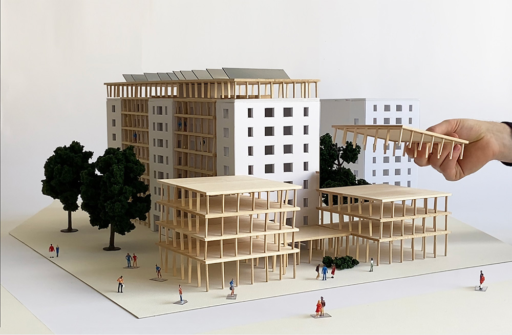 Architectural model showing the extensions at Cooper Park Houses - Peterson Rich Office