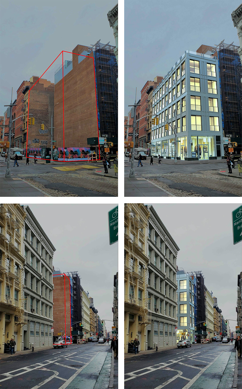 Existing conditions(left) and rendering of 72 Grand Street (right) - Katz Architecture; RKTB Architects