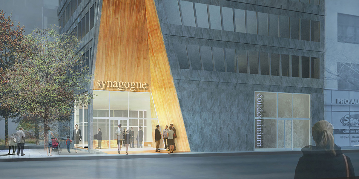 Exterior rendering of the SynaCondo ground floor entry - Ryan McLaughlin; Studio St Architects