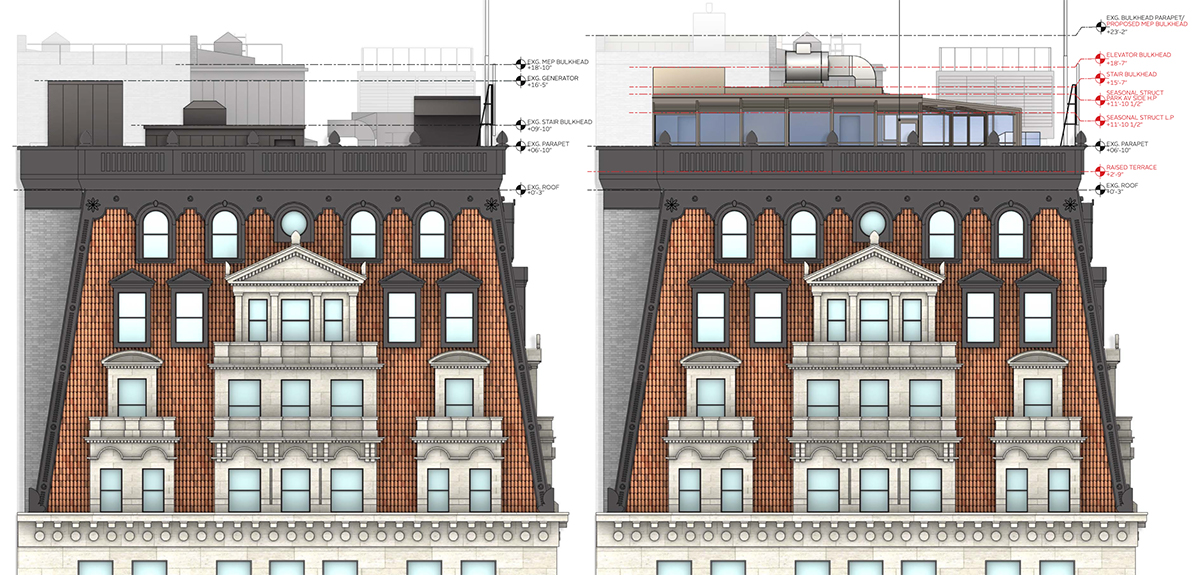 (From left to right) existing conditions and proposed conditions at the W New York - Union Square roof west elevation - Beyer Blinder Belle