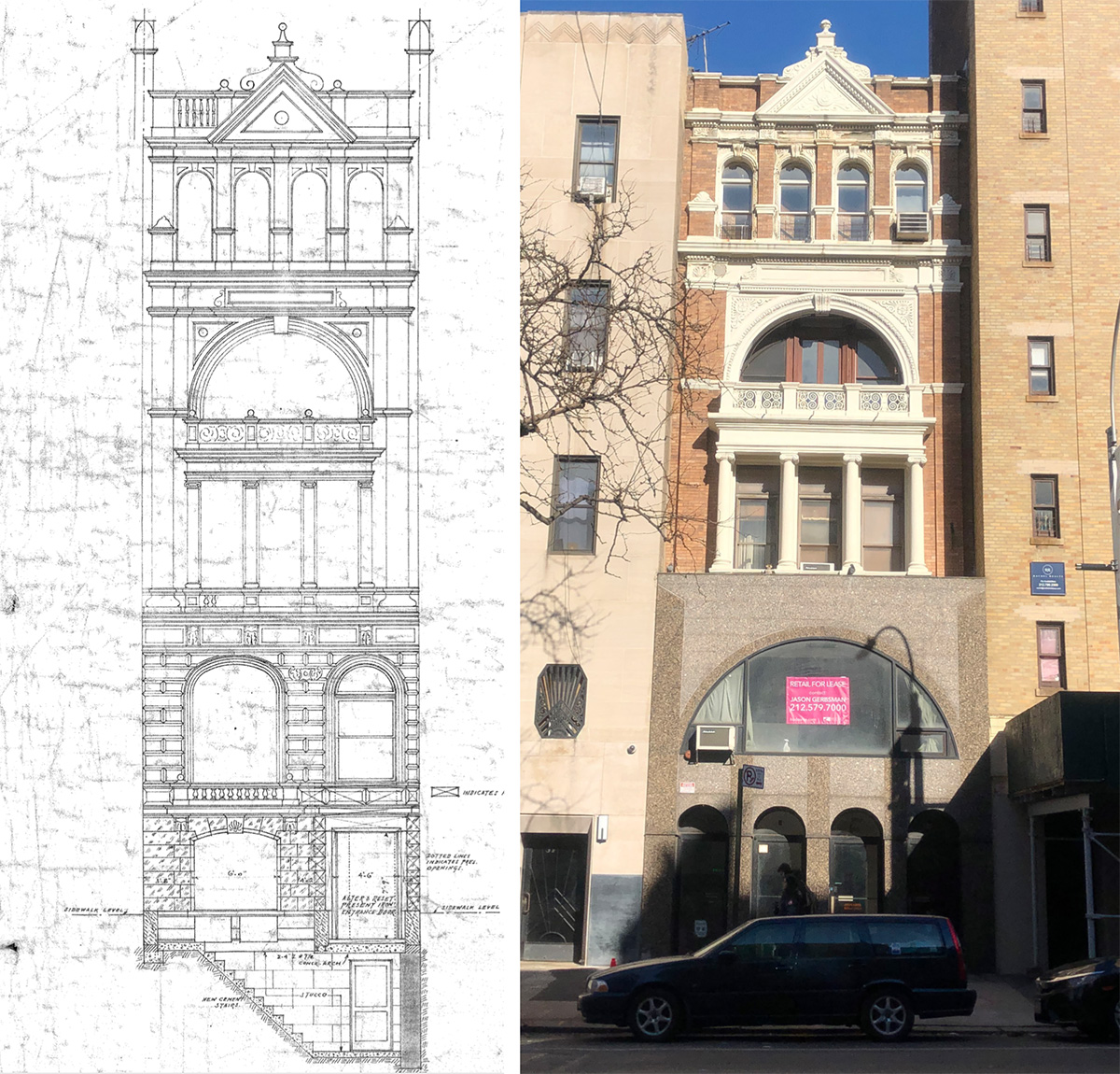 Historic conditions (left) and existing conditions (right) at 55 East 86th Street - Opera Studio Architecture