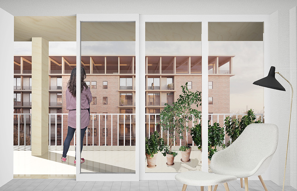 Interior balcony view at Cooper Park Houses - Peterson Rich Office