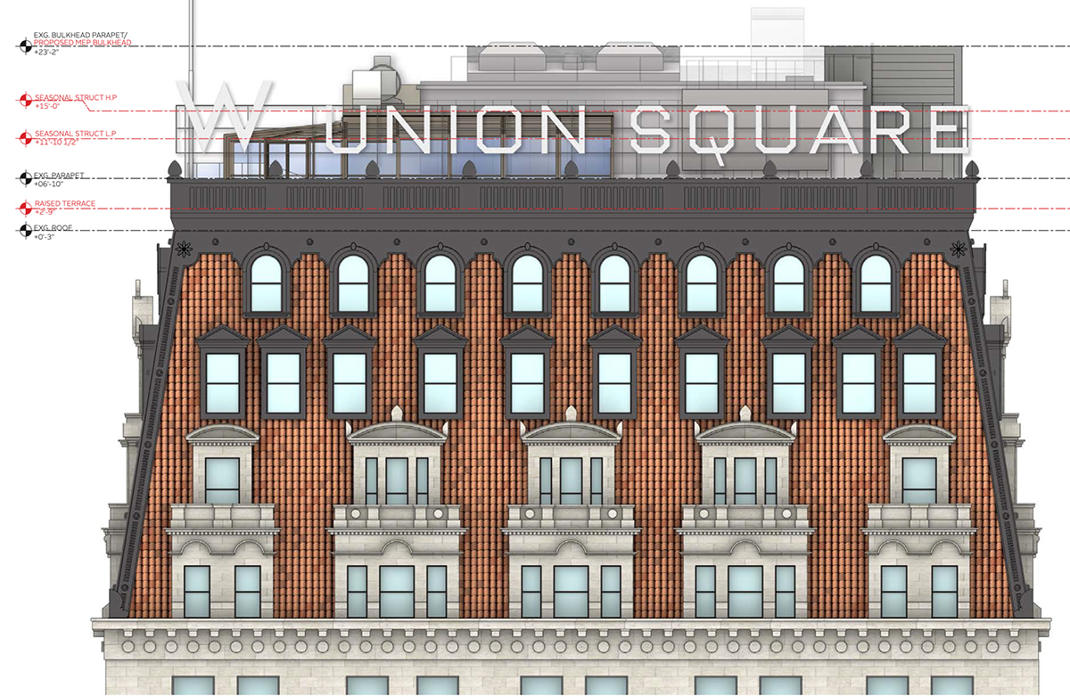 Proposed conditions at the W New York - Union Square roof south elevation - Beyer Blinder Belle