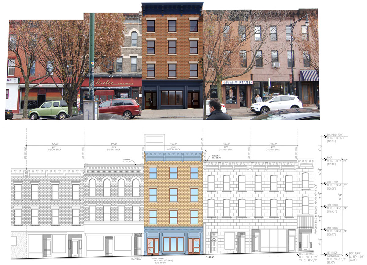 Rendering and partial street view (above) and elevation drawing (below) for 631 Vanderbilt Avenue - RSLN Architecture