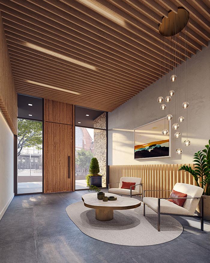 Rendering of lobby at 233 Eighteenth - NOVA Concepts Inc.