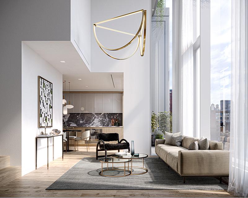 Rendering of model living room at 101 West 14th Street - Binyan Studios; ODA New York