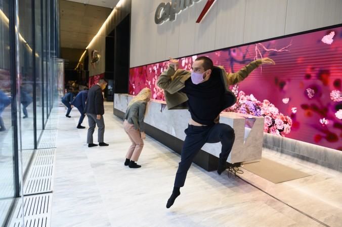 <em>Bloom</em> performers celebrate the debut of 299 Park Avenue's new lobby space - Jenny Anderson