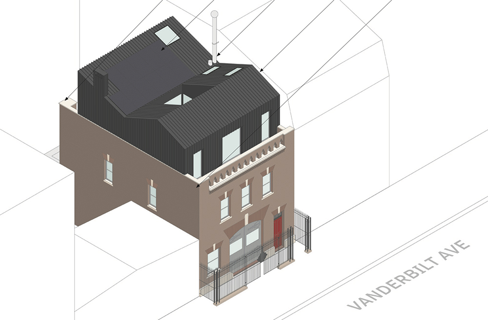 Aerial rendering of rooftop addition at 405 Vanderbilt Ave - VonDalwig Architecture