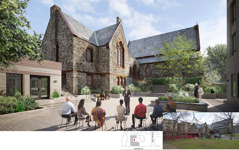 Rendering of proposed courtyard and community facility spaces at 2500 Jerome Avenue - Dattner Architects