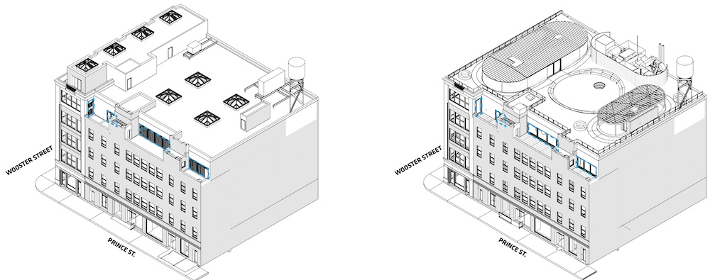 Aerial drawings of existing building (left) and proposed rooftop terrace (right) at 130 Prince Street - Bjarke Ingels Group (BIG)