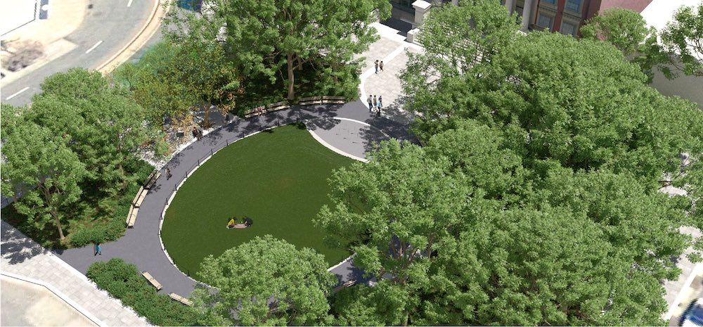 Aerial rendering of proposed changes at Court Square Park - New York City Parks Department