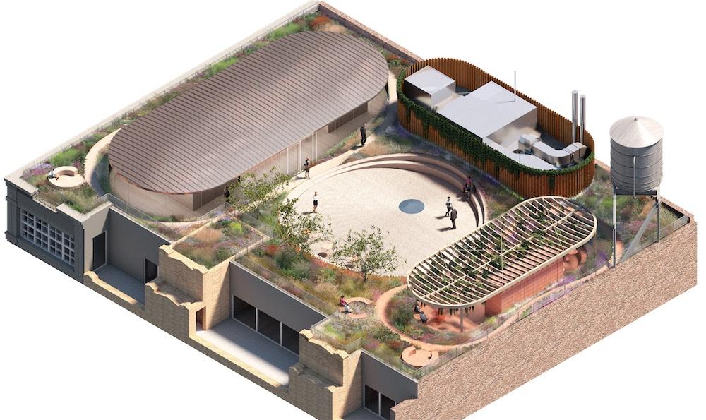Aerial rendering of proposed rooftop terrace at 130 Prince Street - Bjarke Ingels Group (BIG)