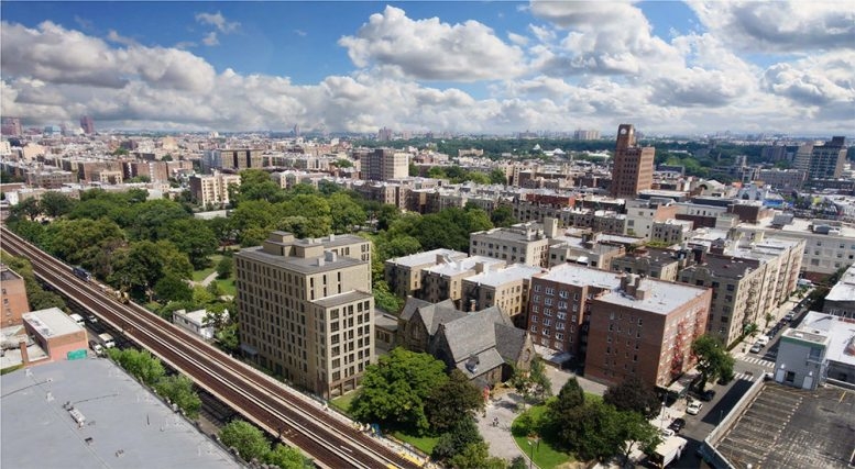 Aerial rendering of renovations at St. James Church Fordham - Dattner Architects