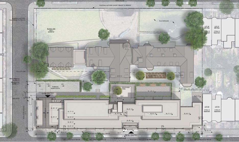 Aerial site plan of proposed development campus at 959 Sterling Place campus - Morris Adjmi Architects