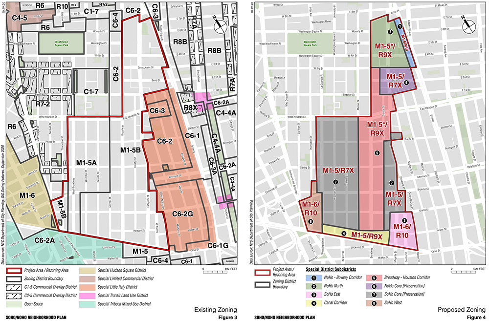 Existing (left) and proposed (right) zoning in SoHo and NoHo, Manhattan - NYC Department of City Planning