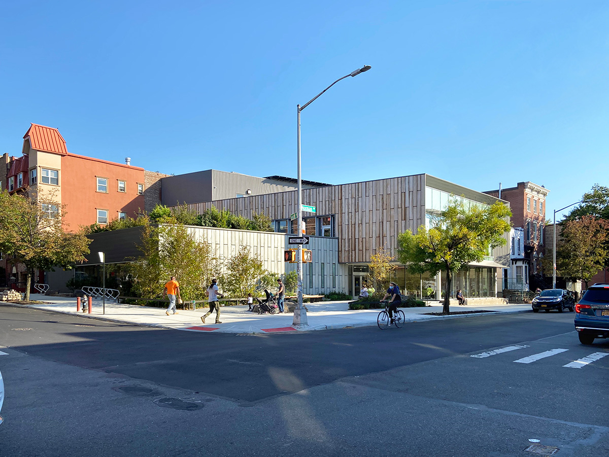 Exterior view of the The Greenpoint Library and Environmental Education Center - Photo by Gregg Richards