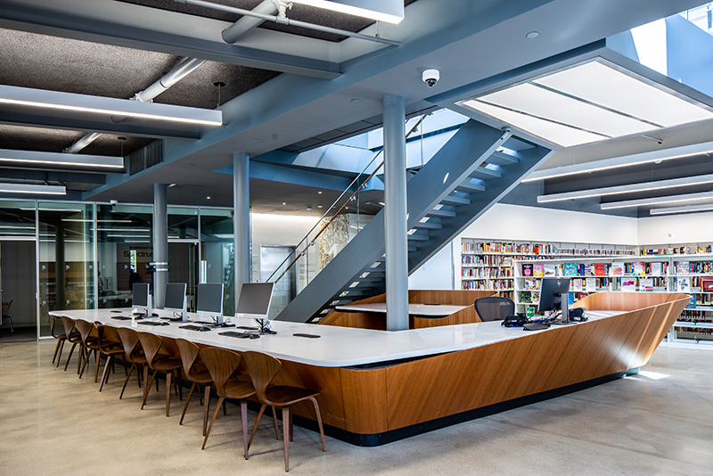 Ground floor of The Greenpoint Library and Environmental Education Center - Photo by Gregg Richards