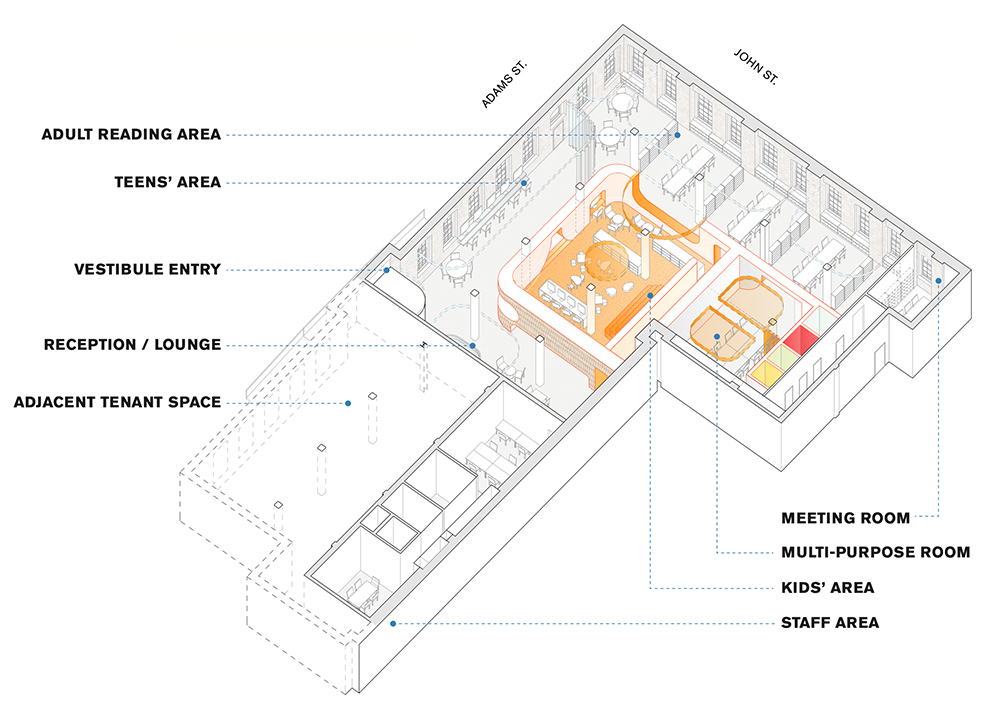 Illustration depicts interior organization of the new Adams Street Library - Workac