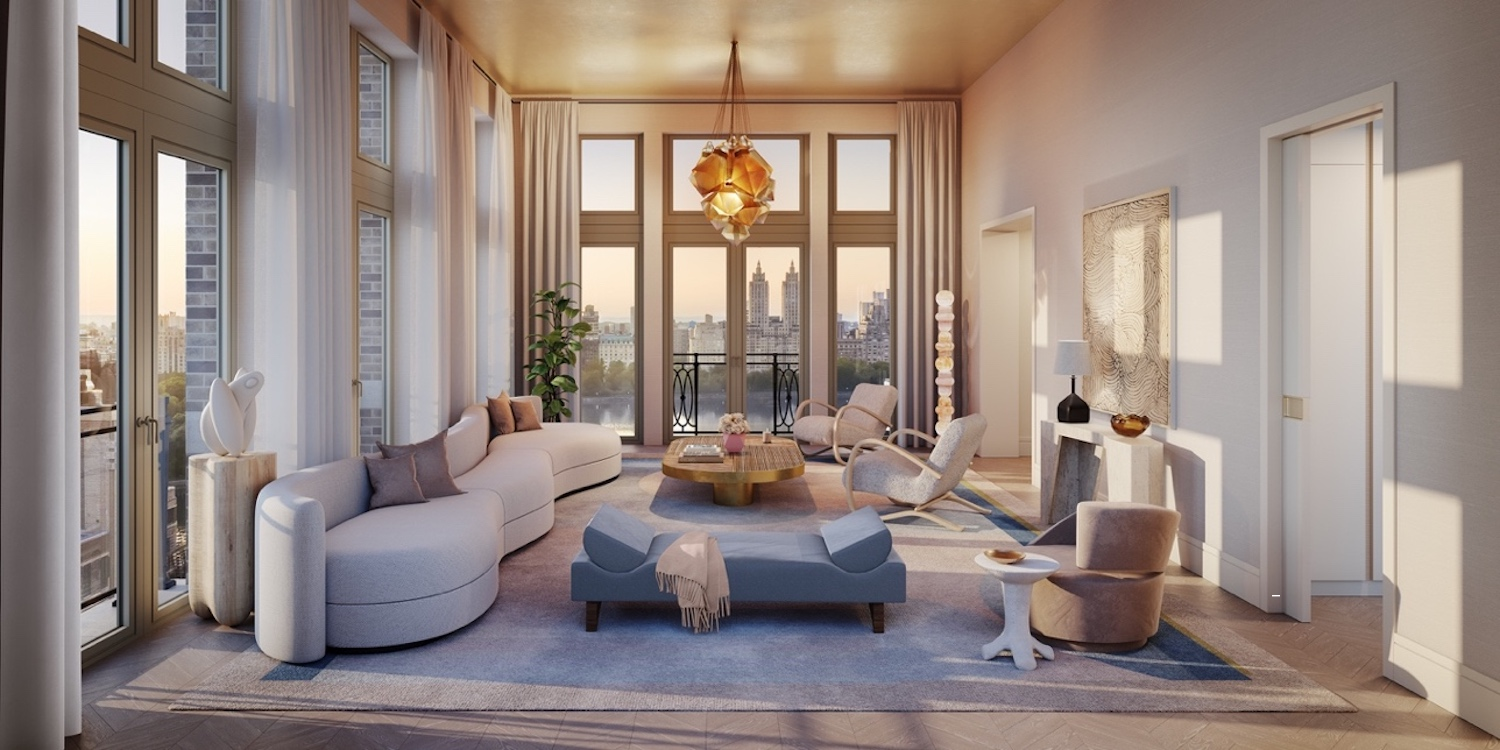 Penthouse Living Room at 1228 Madison Avenue.