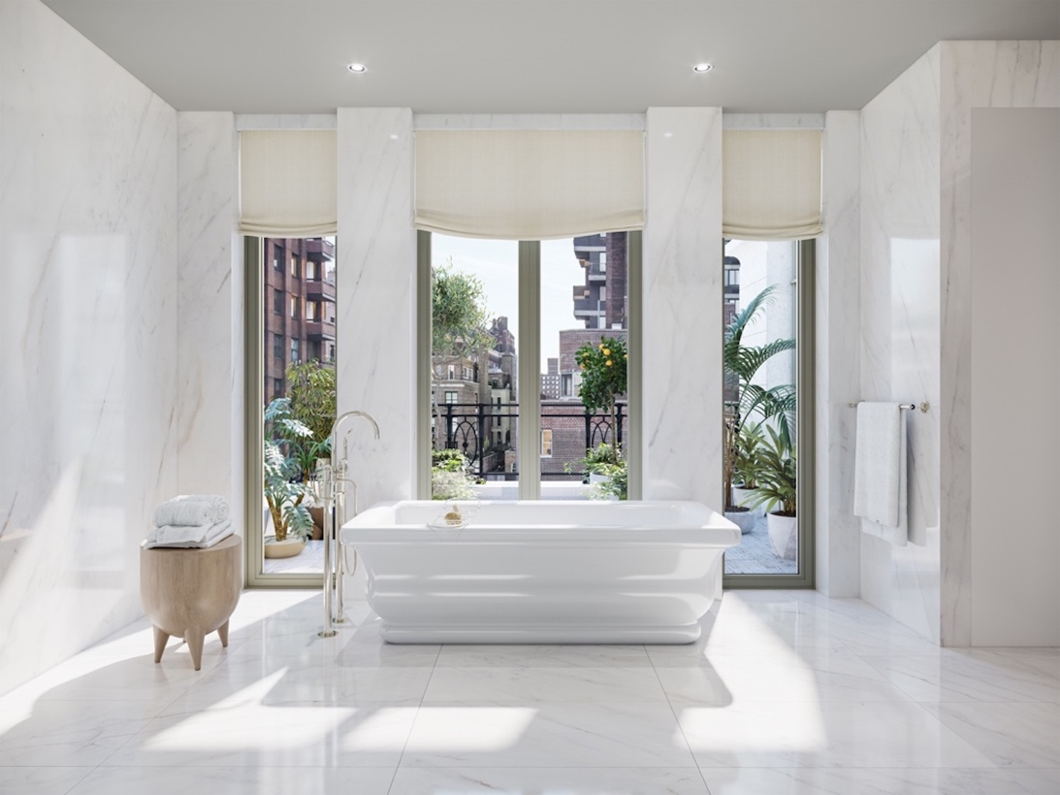 11th Floor Master Bath Tub with adjacent private terrace at 1228 Madison Avenue