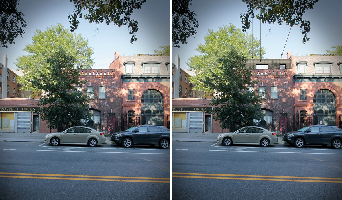 Photo of existing conditions (left) and rendering of rooftop addition (right) at 405 Vanderbilt Ave - VonDalwig Architecture