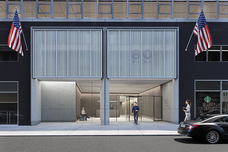 Rendering illustrates exterior view of 80 Pine lobby from Maiden Lane - Fogarty Finger Architecture