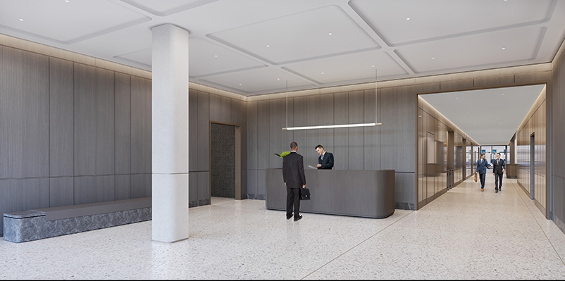 Rendering illustrates interior view of 80 Pine lobby from Maiden Lane entrance