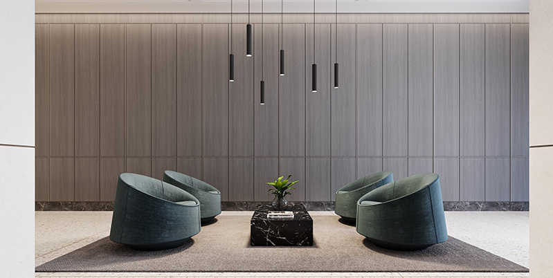 Rendering illustrates new lobby seating at 80 Pine Street - Fogarty Finger Architecture
