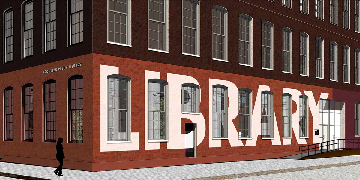 Rendering illustrates the exterior view of the library from John Street and Adams Street - Workac