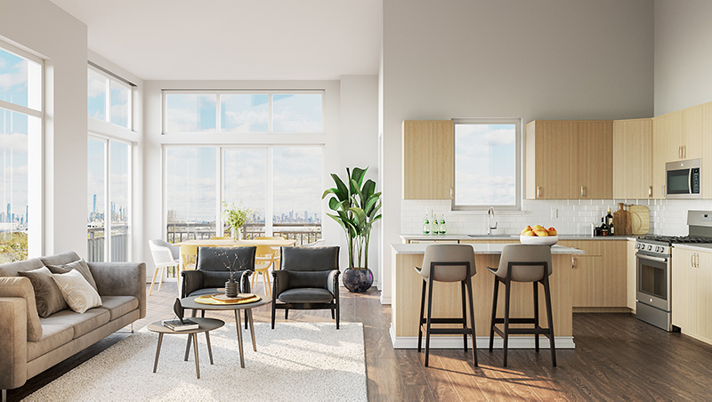 Rendering of Bay 151 Kitchen and Living Area - Hudson Projects