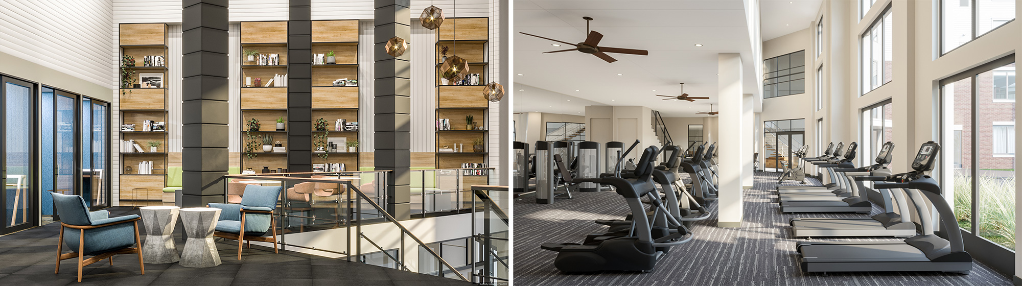 Rendering of Resident Lounge and Fitness Center at Bay 151 - Hudson Projects