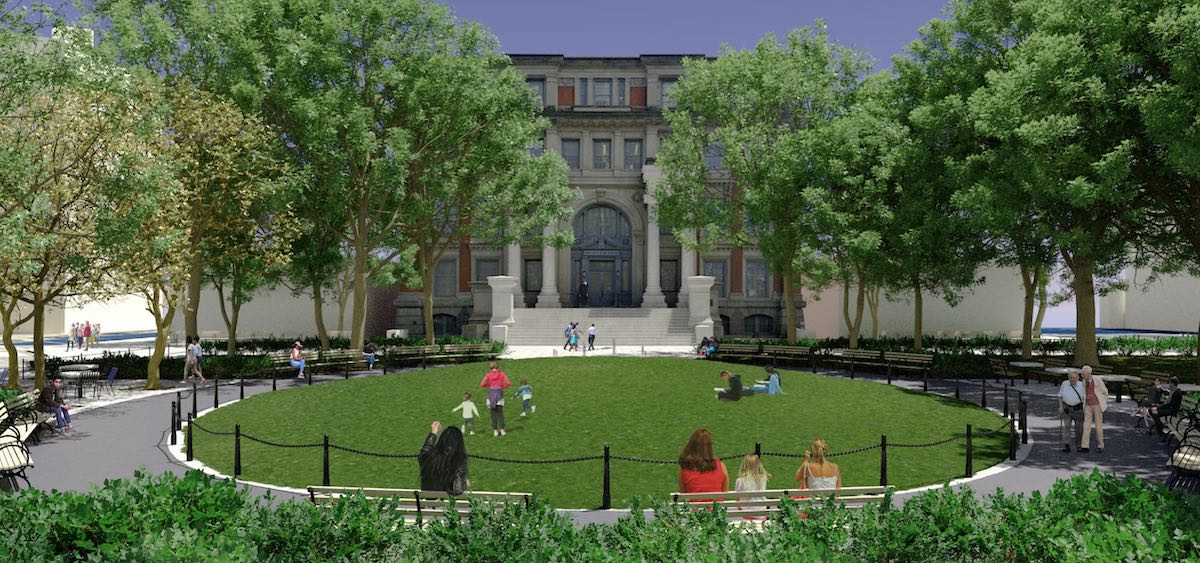 Rendering of proposed changes at Court Square Park - New York City Parks Department