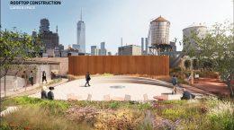 Rendering of proposed rooftop terrace at 130 Prince Street - Bjarke Ingels Group (BIG)