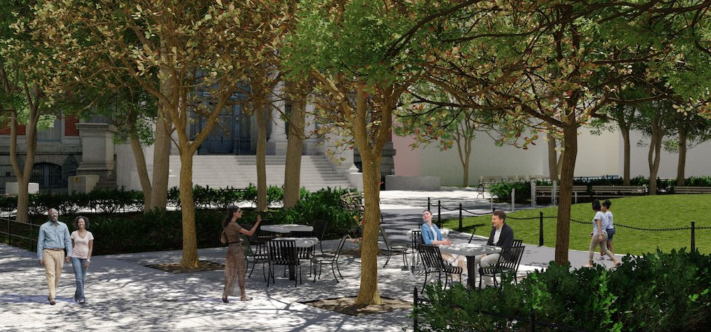 Rendering of proposed seating at bistro tables at Court Square Park - New York City Parks Department