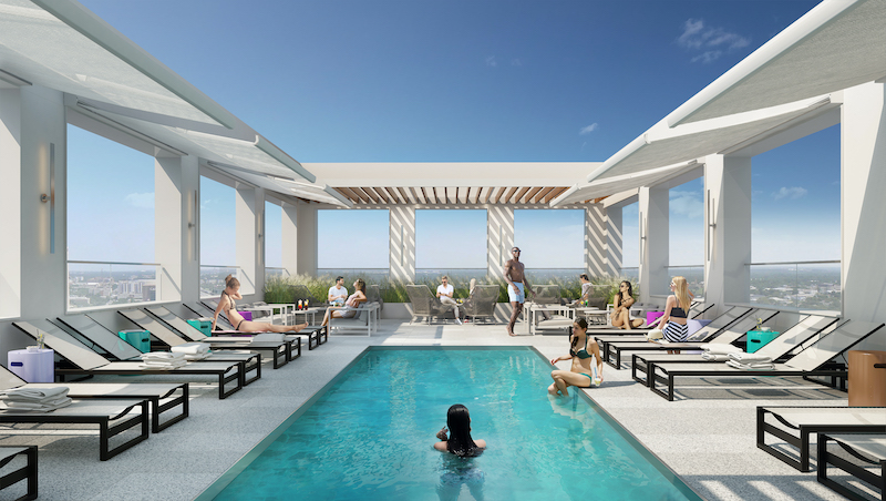 Rendering of residential pool at DVORA 175 - Rendering courtesy of Pax Brooklyn