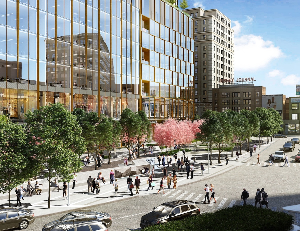 Rendering of streetscape surrounding One Journal Square - Woods Bagot