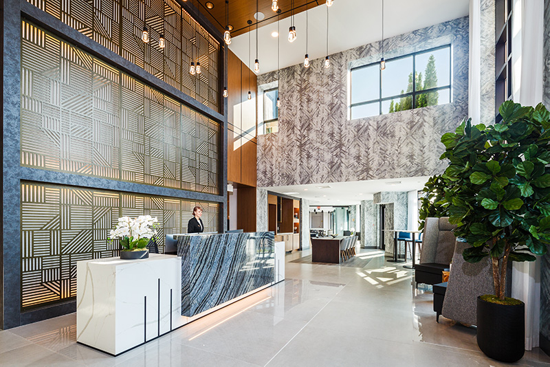 Residential lobby at 100 House