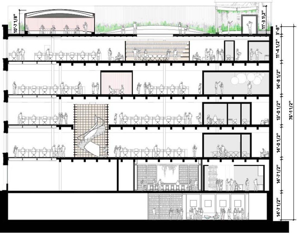 Section drawings of interior programming at 130 Prince Street - Bjarke Ingels Group (BIG)