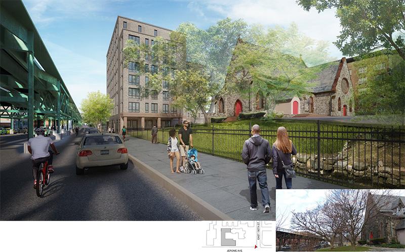 Street-level rendering of renovations at St. James Church Fordham - Dattner Architects