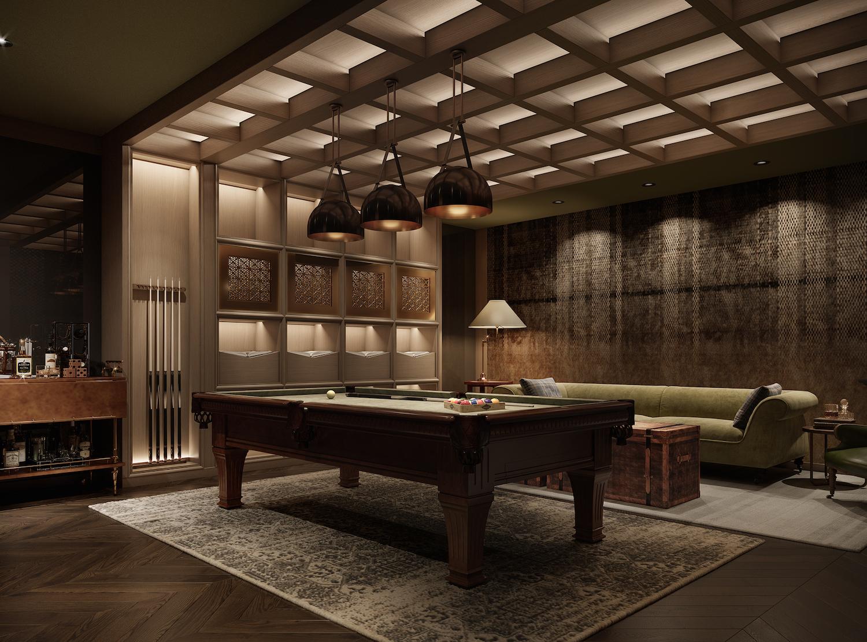 Billiards Club Room at 111 Varick. Credit: Binyan Studios