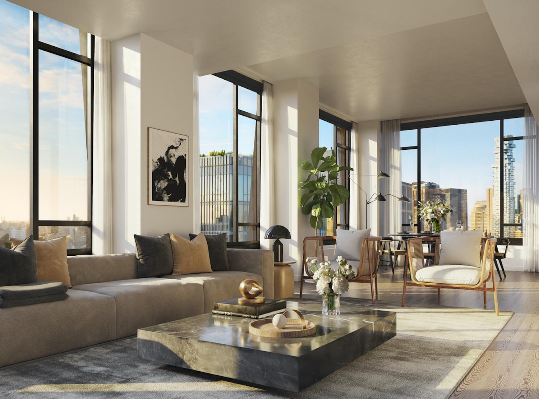 Living Room at 111 Varick. Credit: Binyan Studios