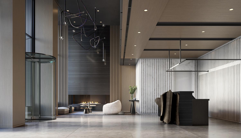 Lobby at 111 Varick. Credit: Binyan Studios