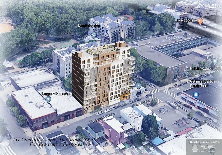 Aerial rendering of 431 Concord Avenue - Gerald J. Caliendo Architect